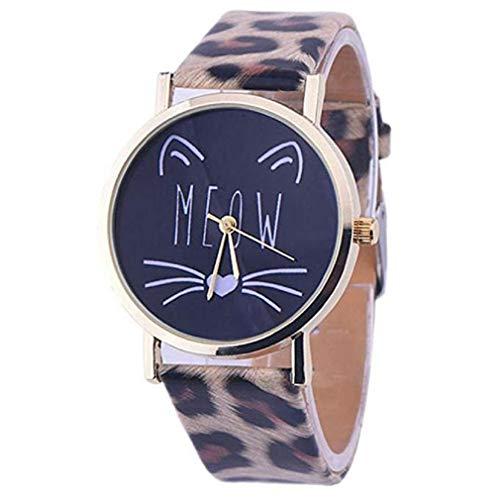 Scpink Las Mujeres del Gato Lindo patrón de liquidación señoras analógicas Relojes de Pulsera Relojes de niña de Cuero Relojes Femeninos (Marrón): ...