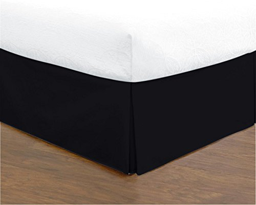 Bed Skirt Hotel Quality (Full, Black 14 Inch Fall) - Iron Easy, Quadruple Pleated Quadruple Pleated, Wrinkle and Fade Resistant,100% Finest Quality by Lux Decor Collection (Full, Black) - Black Full Bedskirt