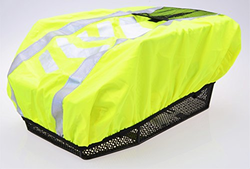 abereda XXL Fahrradkorb hinten für Gepäckträger mit Regenabdeckung neongelb mit Reflexstreifen