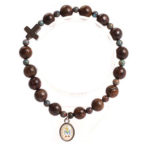 GEM-inside 8mm Brown Bronzite Mala Prayer Rosary Beads Bracelets Elastic Catholic Christian Jewelry for Men Women 7