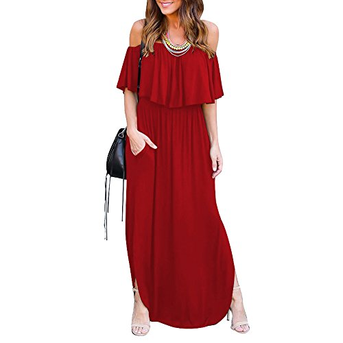 SCORP Women's Summer Off Shoulder Ruffles Pocket Split Long Maxi Casual Dress
