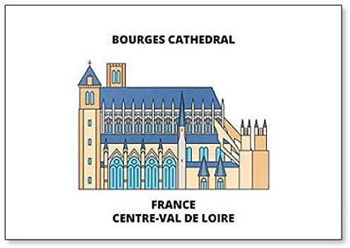 Aimant de r/éfrig/érateur classique avec illustration minimaliste de la cath/édrale de Bourges