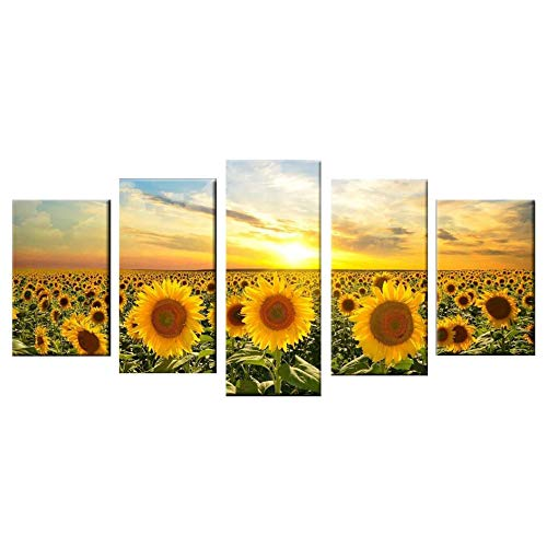 (ZSDGY Inkjet Sun Sunflower Poster, Background Painting Decorative Painting, Wanli Tianye Oil Painting (Without Frame),40x60cmx2+40x80cmx2+40x100cmx1)