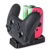 ジョイコン Joy-Con Pro コントローラー 充電 スタンド Nintendo Switch用 3WAY充電可能 KINGTOP ニンテンドー スイッチ プローコントローラー 充電ホルダー チャージャー 充電指示LED付き 日本語説明書付き