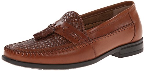 Nunn Bush Men's Strafford Woven Slip-On Loafer, Cognac, 9 M US Brown Woven Leather Loafer