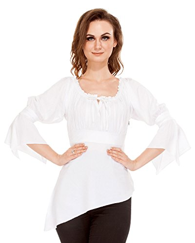 Pirate Renaissance Medieval Gothic Wench Cosplay Costume Women's 3/4 Sleeve High-Low Hem Blouse Top (White) (X-Large)