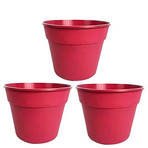 Matri - Plastic Planter Pot - 8.5 inch - 3 Pack (Wine)