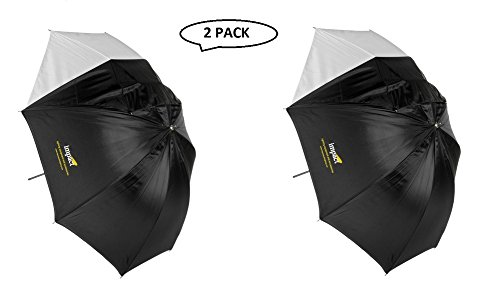 (Impact Convertible Umbrella - White Satin with Removable Black Backing - 45