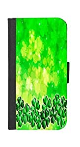 Rikki KnightTM Four Leaf Clover on Shamrock Irish Design iPhone 6 Premium PU Leather Wallet Flip Case with Magnetic Flap for iPhone 6
