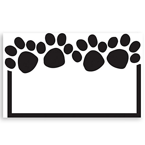 - Paw Print White Enclosure Cards - 3-1/2in. x 2-1/4in. (50)