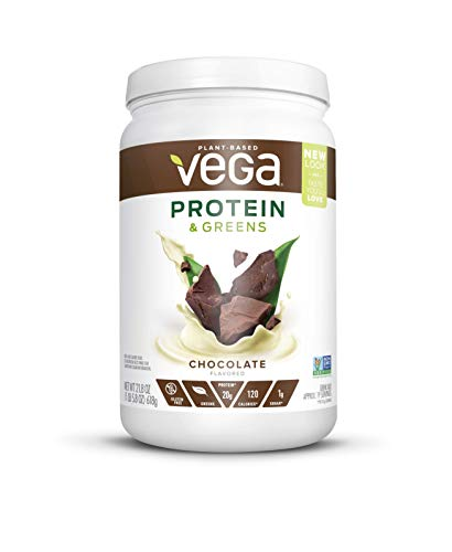 Vega Protein & Greens MD Powder Chocolate (Tub 21.8 Oz) - Plant Based Protein Powder, Keto-Friendly, Gluten Free,  Non Dairy, Vegan, Non Soy, Non ()
