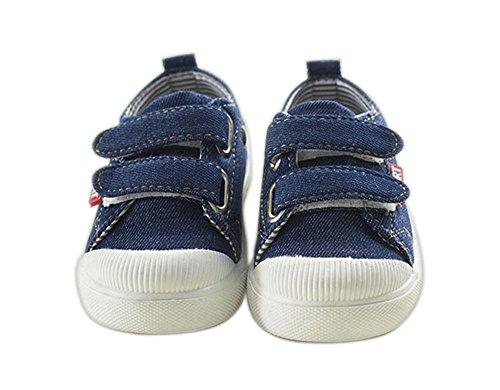 ALUK- Zapatos de los niños zapatos de lona de los niños ocasionales coreanos de la lona baja para ayudar a los zapatos mágicos de la tarjeta de los pegatinas ( Color : Azul oscuro , Tamaño : 25 ) Azul oscuro