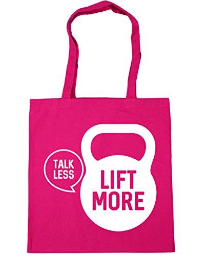 HippoWarehouse Talk less lift more Tote Compras Bolsa de playa 42cm x38cm, 10litros fucsia