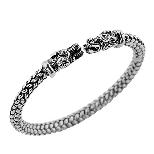 - SNOWLIN Men's Double Head Tiger Cuff Bracelet Viking Arm Ring Pagan Gothic Pewter Bracelet Adjustable Men's Jewelry (Silver)