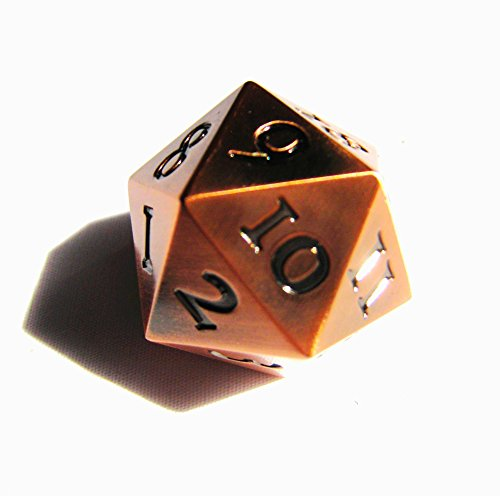 Countdown Metal (Extra Large Solid Metal Bronze Copper D20 Countdown Dice 20 face Count Down Counter 20 faced Extra Heavy)