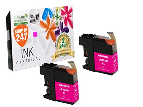 Compatible Brother LC103M/LC101M (XL Series) High Yield ink cartridge replacement for Brother DCP-J152W, MFC-J245,J285DW,J450DW,J470DW,J475DW,J650DW,J870DW,J875DW color inkjet 2 pc LC103/LC101 Magenta