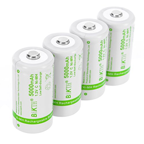 BAKTH Upgraded 5000mAh C Size High Performance NiMH Pre-Charged Low Self-Discharge Rechargeable Batteries for Household Devices (4 Pack)