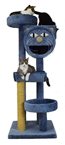 Molly and Friends MF-64-blue Four-Tier Scratching Post Furniture, Blue