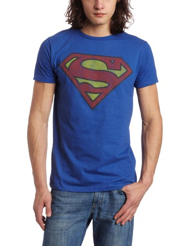Men's Faded Superman Logo Tee, Royal Blue - S to 3XL