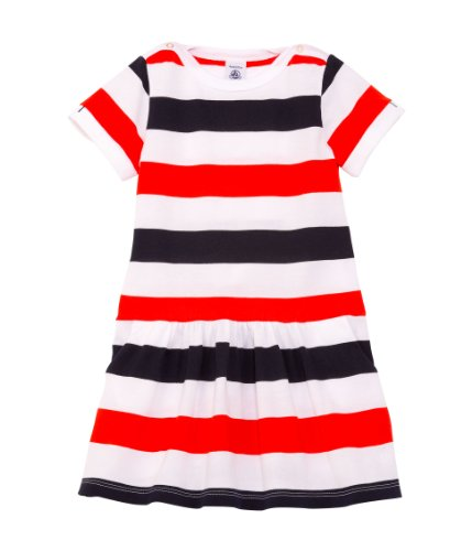 Price comparison product image Petit Bateau Girls' 'Federal' Striped Dress (Kids)- Navy/Red - 4 Years