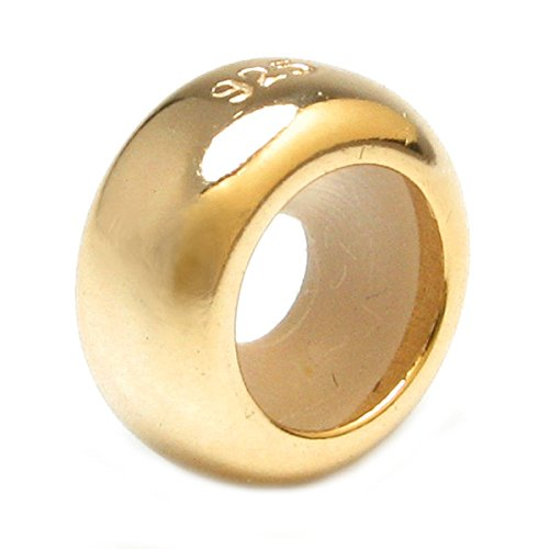 Sterling Silver Gold-tone Plain Ring Stopper with Rubber Bead for European Charm Bracelets