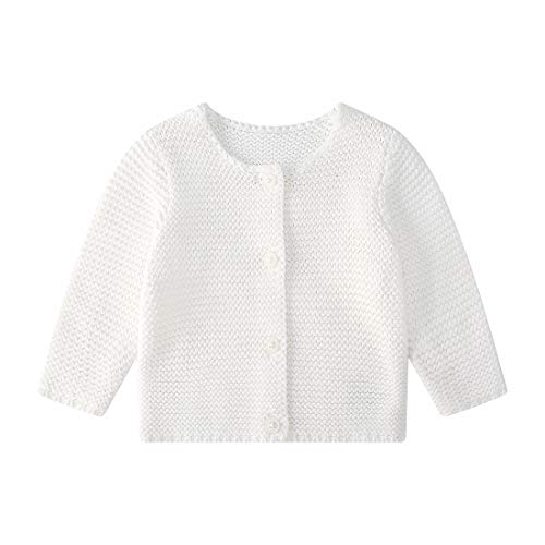 Baby Girls' Long Sleeve Knitted Cardigan Sweaters Toddler Button-Down Cotton Coat Outerwear White 6-9M (Cardigan Girl Infant White)