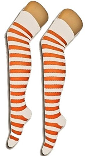 Ladies Mens Girls Boys Stripe Argyle Referee Check Lycra Cotton Plain Bow Ankle Over The Knee Socks (Foot Size 4-6, White/Orange Stripe) (Socks Orange Bow)