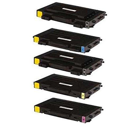 Toner Cartridges Compatible with Samsung CLP-510D7K CLP-510D5C CLP-510D5M CLP-510D5Y 1Set + 1BK Laser Toner Cartridges (1 Black, 1 Cyan, 1 Yellow, 1 Magenta)