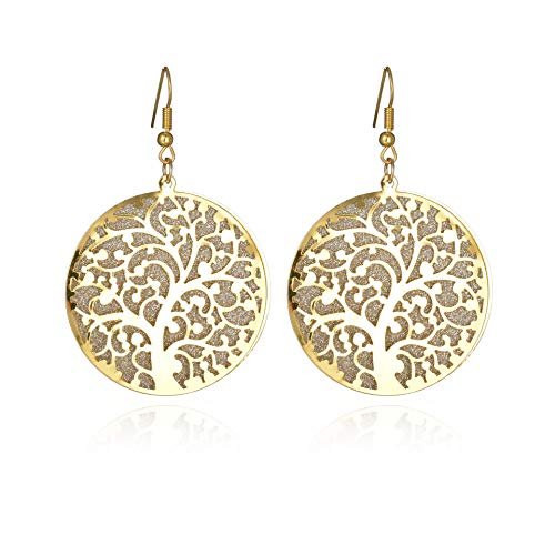 MIXIA Round Tree of Life Hollow Swirl Filigree Brushed Earrings for Women Long Drop Earrings (Gold)