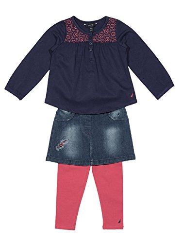 Nautica Baby Girls' Three Piece Shirt, Skirt and Legging Set, Medium Navy, 18 Months