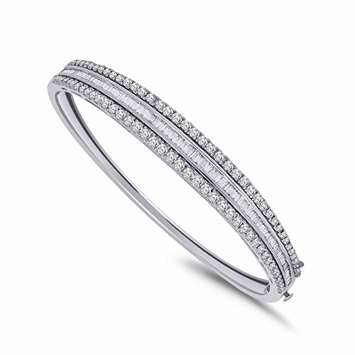 IGI-Certified 14K Gold Plated Round & Baguette Shape Diamond Three Row Bangle Bracelet (2.21 Ct) (white-gold-plated-silver)