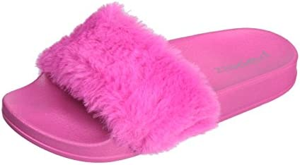 872bd6f6e03f Popeez Girls Open Toe Flip Flop Slide Slipper With Soft Faux Fur Top and Hard  Sole