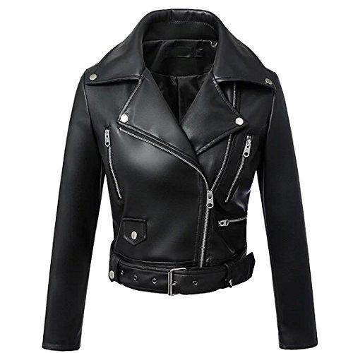 Osave Women Black PU Crop Top Jacket Multi-Zipper Waterproof Belted Slim Fit Blazer (M) ()