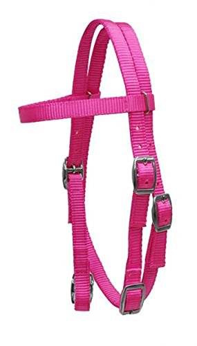 (Showman PONY Size Premium PINK Soft Durable 2 Ply Nylon Browband Headstall Adjustable Bridle)