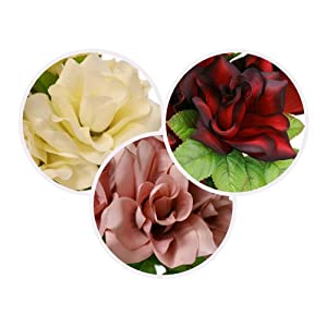 BalsaCircle 168 Velvet Open Bloom Roses - 24 Bushes - Artificial Flowers Wedding Party Centerpieces Arrangements Bouquets Supplies 30