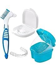 Tandprothesdoos, onzichtbare tandenspelden-reinigingsdoos, tandspeldenreinigingsdoos, opbergdoos, met tandspeld-reinigingsborstel (blauwe tandenborstel)