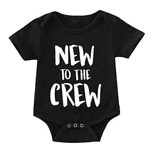Newborn Baby Boy Clothes Romper New to The Crew Funny Printed Onesies Bodysuit Outfits 3-6 Months]()