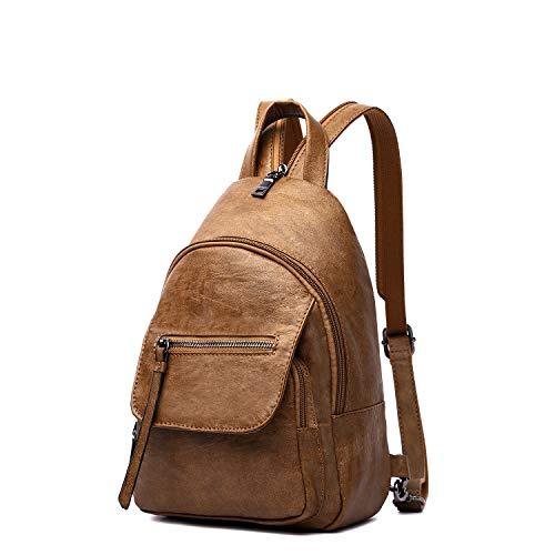 Women Backpack Purse, Small Shoulder Bag Lightweight School Travel PU Leather Purse with Adjustable Shoulder Strap (Brown(mini))