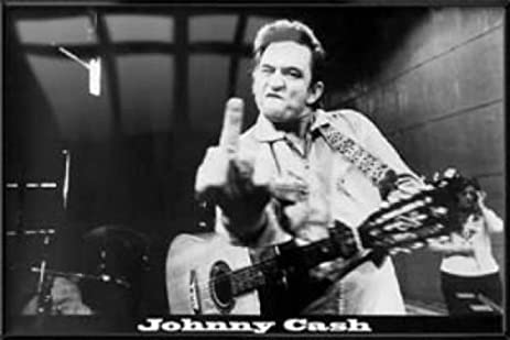 Amazon.com: Johnny Cash - Framed Poster / Print (Flipping The Bird ...