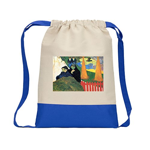 Old Garden Arles (Gauguin) Canvas Backpack Color Drawstring Bag - Royal Blue (Arles Canvas)