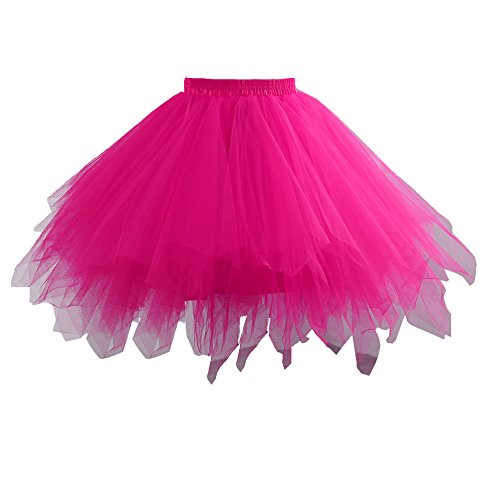 Fuschia Womens Skirt (Yinyyinhs Women's Vintage Short Petticoat Skirt Ballet Bubble Tutu Multi-Colored Pettiskirt Size Large and X-Large Fuschia)