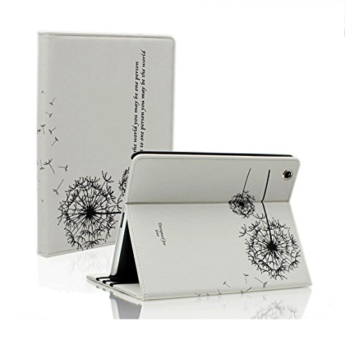 SAVEICON (TM White Dandelion Folio PU Leather Stand Case Cover Skin for iPad 2 iPad 3 iPad 4 Wifi 3G 4G LTE with Stand and Sleep/Wake Function