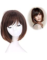 STfantasy Ombre Brown Bob Wig Short Straight Synthetic Hair for Women Girl Cosplay Costume Halloween Everyday Daily Wear (Ombre Brown)