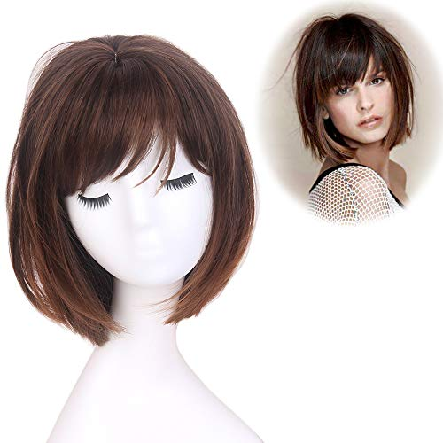 STfantasy Bob Wig Ombre Brown Short Straight Synthetic Hair for Women Cosplay Costume Halloween Everyday Daily Wear