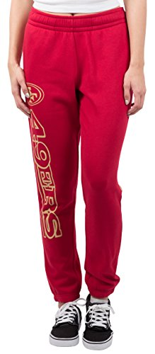 NFL Women's San Francisco 49ers Jogger Pants Relax Fit Fleece Sweatpants, Large, Red - San Francisco 49ers Womens Apparel
