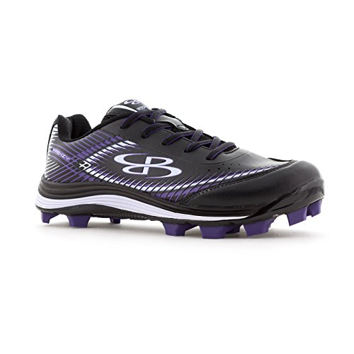 Boombah Womens Frenzy Molded Cleats - 13 Color Options - Multiple Sizes Black/Purple U6Db0gkC