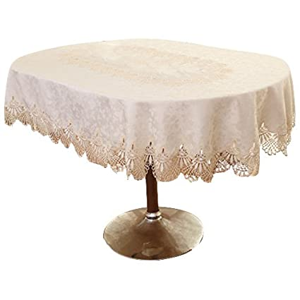 Ustide Luxury Lace Jacquard Oval Tablecloth Off White Wedding Tablecloth  Off White Lace Banquet