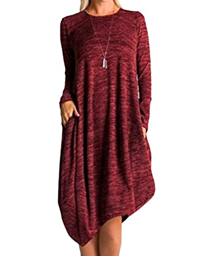 Sleeve Midi Solid Dress Long Coolred Pockets Wine Asymmetrical Hem Women Red Big gnwX6U