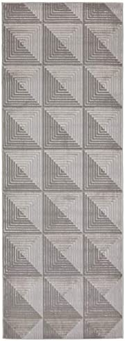 Rivet Contemporary Runner Rug, 2 10 x 7 10 , Grey and Taupe