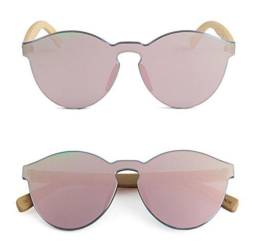 cadre jambes polarisées rondes forme de personnalité sans coeur soleil Barbie lunettes Pink bois en Rétro de Hellomiko en lunettes bambou ExZwqBnS